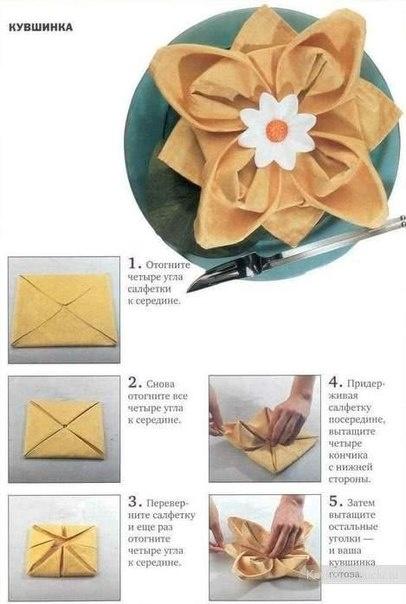 5 способов красиво сложить салфетку